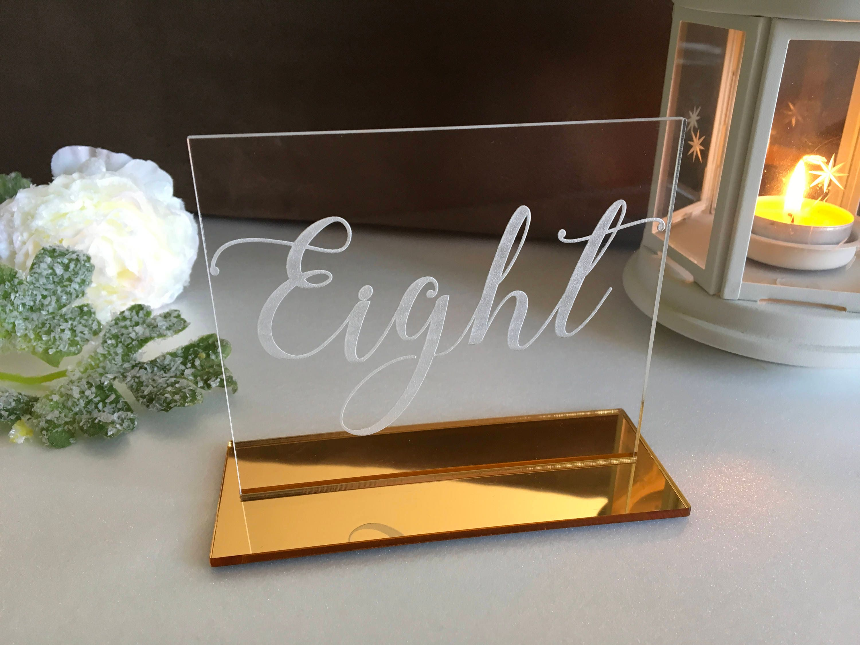 Clear acrylic table numbers for wedding calligraphy