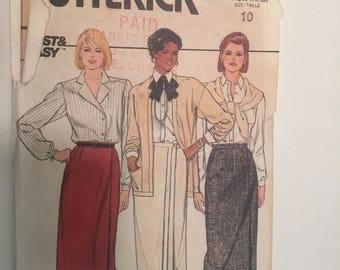 Size 10 Vintage Misses Straight Wrap Skirt Butterick #6776
