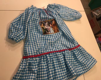 Wizard of Oz Dorothy Blue Check Toddler Size 2-3-4 Night Gown