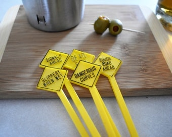 Set of 5 Vintage Yellow Road Sign Swizzle Sticks