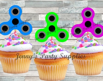 Set of 12 Fidget Cupcake Toppers, Spinner Cupcake Picks, Fidget Birthday Party, Hand Spinner Cupcake Picks