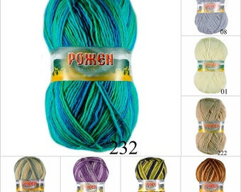 Wool yarn worsted 100 g (0.220 pounds) - 220 m (240,6 yards)
