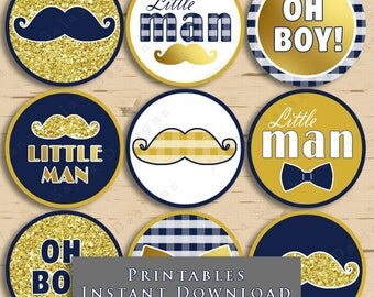 Little Man Baby Shower Cupcake Toppers Mustache Party Printable Navy Blue Gold Mustache DIY INSTANT DOWNLOAD LM008