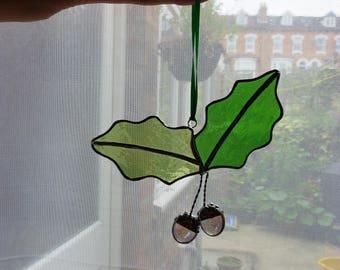Unique Acorns wtih oak leafs stained glass suncatcher