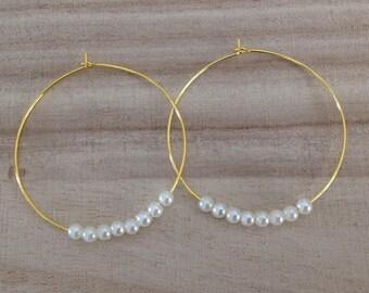 """""""Giulia"""" hoop earrings with cultured pearl"""