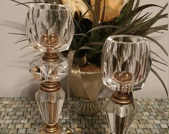 ON SALE Hollywood Regency Style Candle Holder Pair