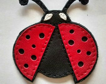 Leather Ladybug open winged Patch appliqué