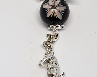 Moon gazing hare and flower bead necklace handmade