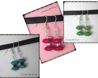 Earrings with wood saucer beads