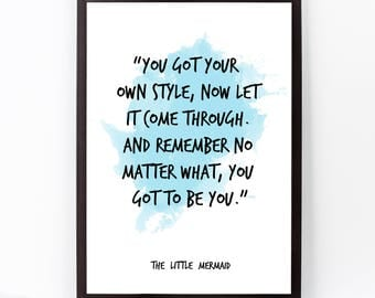 The Little Mermaid, The Little Mermaid Quote, The Little Mermaid Art, Disney Watercolor Quote Poster, Disney Wall art, Inspiring Quote.