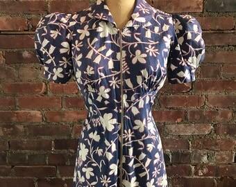 1930s 1940s Zipper Front Hawaiian Print Maxi Dress