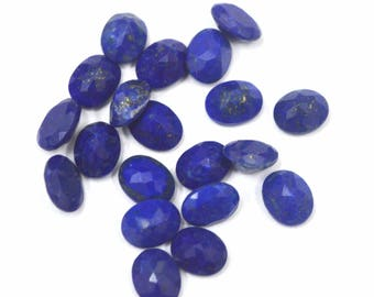 Lapis Lazuli oval cut 10 pcs. lot AAA quality Natural Blue Lapis Lazuli oval cut faceted loose gemstone for jewelry