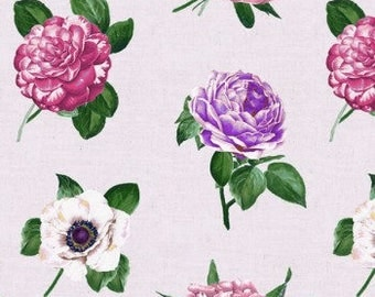 Fuchsia / Purple / Off-White Large Floral Pattern on Wheat Fabric