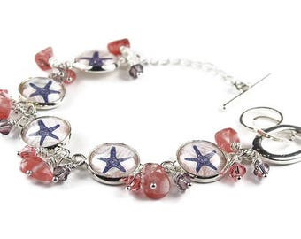 Starfish Beach Bracelet with Coral Beads and Crystals | Beach Theme Jewelry | West Coast