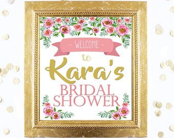Bridal or Baby Shower Welcome Sign Customized - Blush PInk Floral Peony - Instant Printable Digital Download - diy Printables and Games