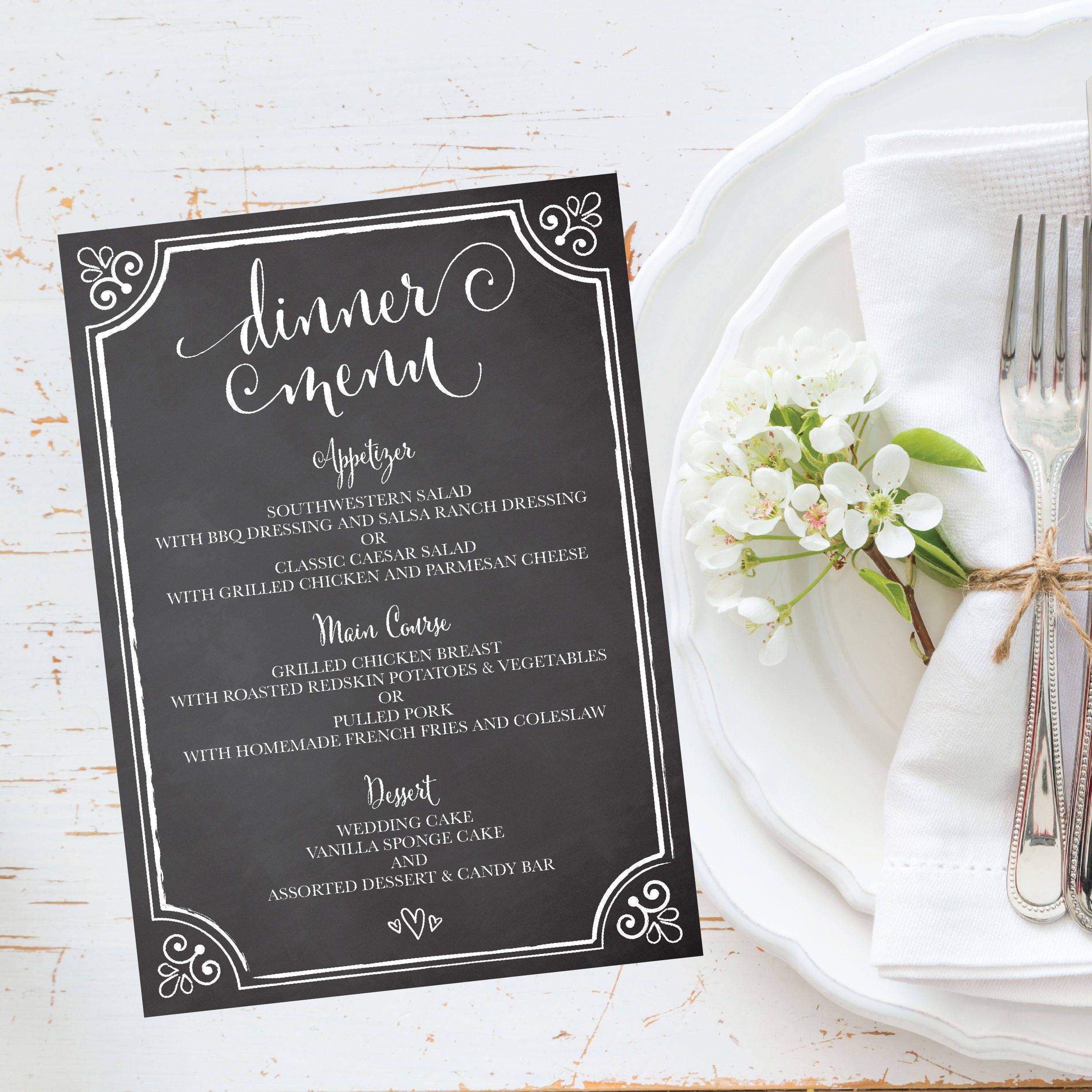 Rustic Chalkboard Wedding Party Menu Template Vintage White Gray 5x7 Editable Printable Dinner