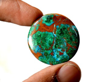 Chrysocolla 35 Cts AAA Quality Natural Gemstone Attractive Designer Round Shape Cabochon 28x28x5 MM R14113