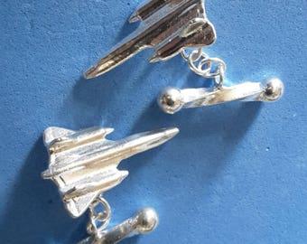 Lockheed SR71 Blackbird Cufflinks in Hallmarked Sterling Silver