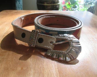 """Vintage Nocona belt-turquoise deep pink and white with beautiful silver buckle. Ready to rodeo Nocona belt. Fits 31 1/2-36""""."""