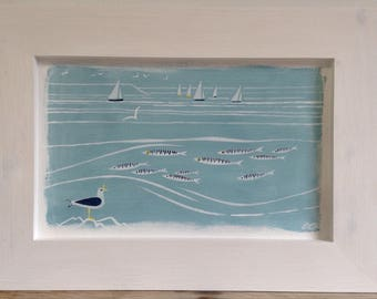 Cry of the gull. Seascape painting in acrylic