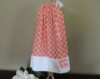 Soft coral and white pillowcase dress. Great for monogram or without. 2T, 3T. 4T and 5.NEW Handmade, FREE Shipping! (Also, listing for navy)