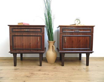 pair vintage nightstand mid century furniture wood end side table bedside coffee table vanity wooden cabinet