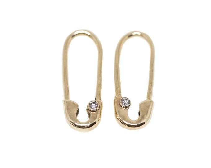 Mini Gold Diamond Safety Pin Earrings