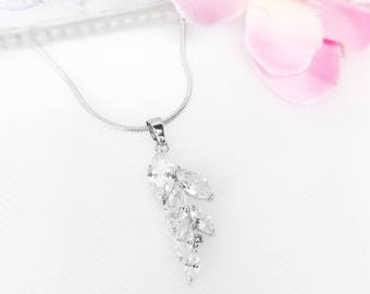 Wedding Necklace Bridal Jewelry, Matching Earrings Available, Leaf Crystal Necklace, CZ Pendant Necklace, Clear Crystal, Bridal Jewelry Set