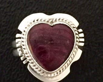 Native American Navajo Larson L. Lee Spiny Oyster Sterling Silver Heart Ring Size 5
