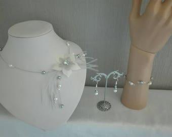grey 3 piece silk flower jewelry set wedding bridal set / ivory / clear feather ceremony evening parties