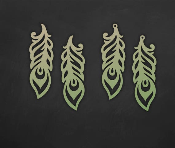 Faux Leather Feather Earrings Set  Laser Cut Templates