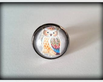 OWL glass Cabochon Adjustable ring