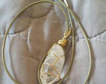 Wire wrapped quartz pendant necklace