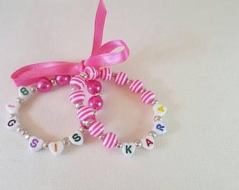 "Childrens double ""BIG SIS"" stretch bracelets."