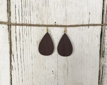 Medium Teardrop Faux Leather Wood grain Earrings: Walnut