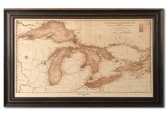 Great Lakes 1948 Antique Wood Engraved Depth Contour Map