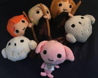 Harry Potter Inspired Soft Plush Beanie Keyring Keychain Key Ring chain Toy Doll - Hermoine / Ron / Hedwig Owl / Dobby / Errol
