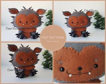 Baby Werewolf Cute PDF Felt Pattern