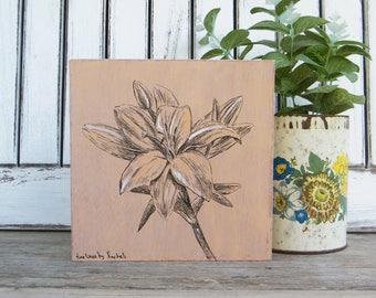Botanical art, Wood wall art, Lily print, Flower print, Rustic wood signs, Hipster wall decor, Bedroom decor, Dorm decor, Housewarming