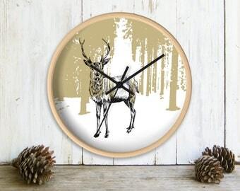 Deer Wall Clock, Printed Wall clock, Deer Decor, Farmhouse Wall Decor, Brown White Wall Clock, Clock for Wall, Nursery Clock, Christmas