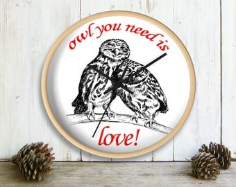 Wall Clock, Funny Valentines Gift, Owl You Need Is Love, Owls Wall clock, Black And White Wall Clock, Valentines Gift, Love Gift, Owls