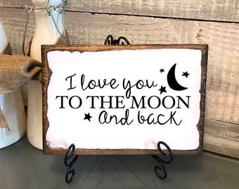 "Valentines gift, Vintage Plaque ""I love you to the Moon and Back"" gift for spouse, gift for her, gift for him, wedding, anniversary, grandpa"