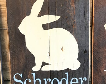 Easter decorations, rustic, bunnies, hand painted wood, personalized gift.