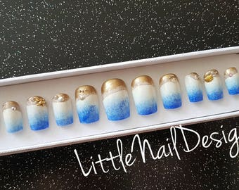 Beach Seaside Ocean Sea Shells Sand Hand Painted False Nails | Little Nail Designs