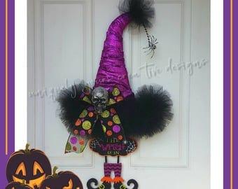 Witch Hat Wreath, Purple Witch Hat Wreath, Halloween Door Wreath, Halloween Witch Wreath, Halloween Witch Hat Wreath, Halloween Decoration