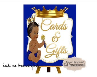 PRINTABLE Royal Baby Shower Gifts & Cards Sign Prints 16X20 or 8X10, Royal Baby Shower Decor