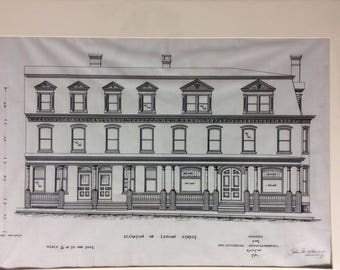 Antique, original architectural drawing - Circa 1907