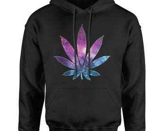 Galaxy Print Pot Leaf Adult Hoodie Sweatshirt