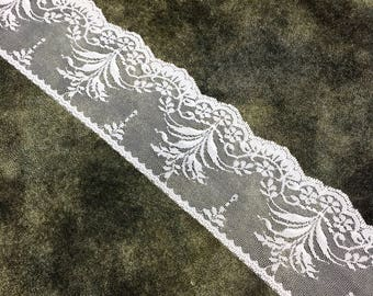 """3"""" (Approximate) Wide White Floral Pattern Lace by Yard"""