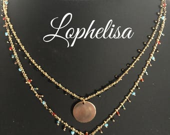 Plasue seed bead chain necklace gold medal